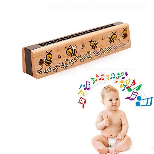 Mincy 16 Hole Children's Cartoon Beech Harmonica Baby Kids Music Interest Training Wooden Educational Toys, Christmas Birthday Gifts (Bees)