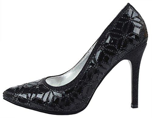 Jjf Scarpe Da Donna Perlescenti Glitter Scintillanti Scarpe A Punta Stiletto Con Tacco A Spillo Nero