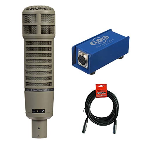 Electro-Voice RE20 Broadcast Announcer Microphone with Cloud Microphone CL-1 Cloudlifter Mic Activator & 20' XLR Cable ()