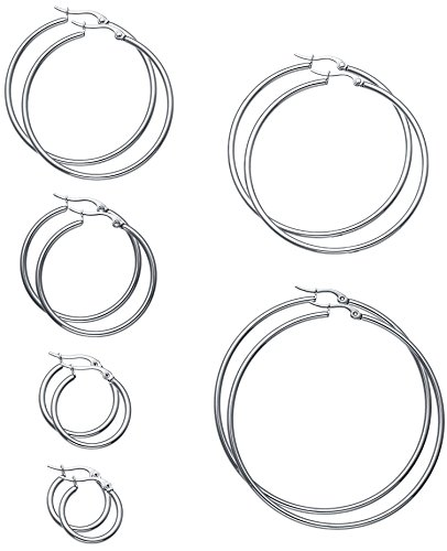 FIBO STEEL 6 Pairs Stainless Steel Hoop Earrings for Men Women Earrings Set 15-60mm Silver-tone (Silver Hoop Earring Set)