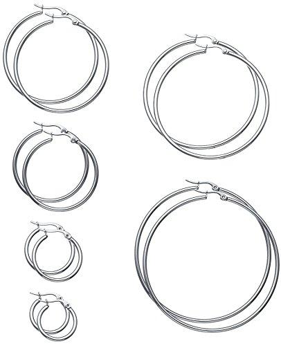 Hoop Earrings (FIBO STEEL 6 Pairs Stainless Steel Hoop Earrings for Men Women Earrings Set 15-60mm Silver-tone)