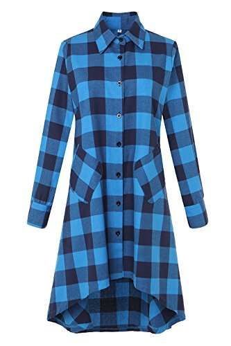 OLRAIN Womens New Plaids Irregular Hem Casual Shirt Dress Small Lake Blue ()