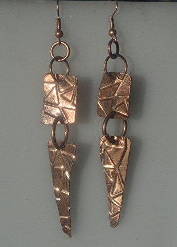 Modernist Dangle - Primitive Tribal Statement Rustic Handmade Copper Earrings Modernist Dangle Drop Arrowhead