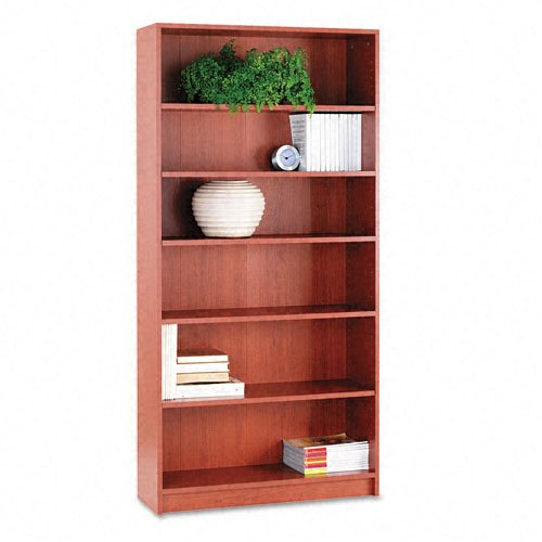 HON 1870 Series Bookcase, 6 Shelves, 36 W by 11-1/2 D by 72-5/8 H, Henna Cherry