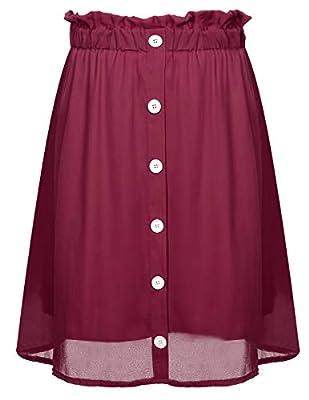 CHICIRIS Women's Vintage Elastic Waist Button Up Loose Swing Midi Skirt