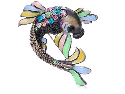 Rhinestone Fish Pin (Alilang Womens Antique Brass Tone Multicolored Rhinestones Pastel Koi Fish Brooch Pin)