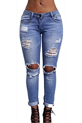 Pantalones Consiguiendo Solid Vaqueros Casual Azul De La Legging Rasgado Mujer Tobillo Pantalones UEqtU6nY