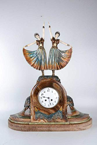 Art Master Collection Chiparus Clock (Sculpture, Bronze and Marble/ 100% Authentic)