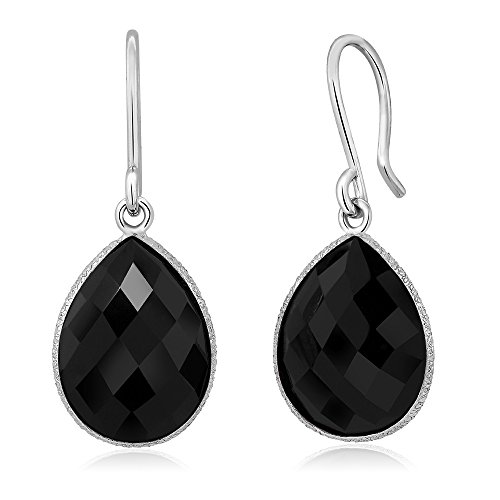 Gem Stone King Sterling Silver Black Onyx Dangle Earrings 13.00 cttw Gemstone Birthstone Pear Shape 16X12MM Black Onyx Pear Shape