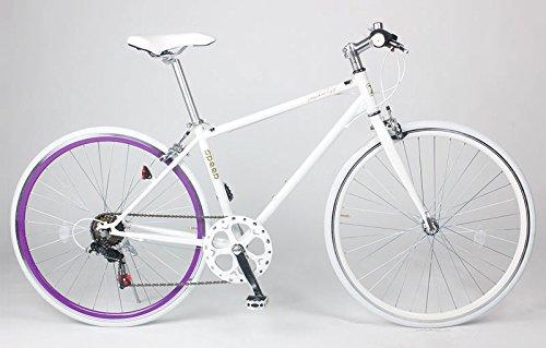 21Technology Crossbike[CL266] クロスバイク シマノ製6段変速ギヤ付き 700×28C B01I4GEC3W ホワイトパープル ホワイトパープル