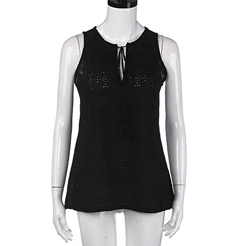 - Leisuraly Womens Lace Crochet Sleeveless Tops Sexy Halter Hollow V Neck Casual Tanks Blouse Black
