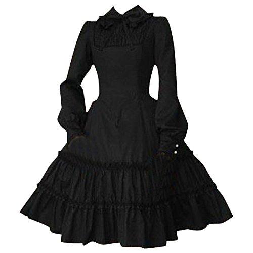 Elegantes Partiss Langarm Lolita Schleife Vintage Damen Kleider Schwarz Retro ZatwSaRq