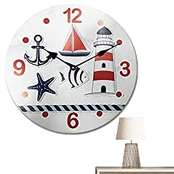Home Sweet Home - 12 inch Simplicity Wooden Wall Clock, Silent Non Ticking Quality Quartz Battery Operated Numeral Design Rustic Country Tuscan Style Decorative Round Clock (Beach)