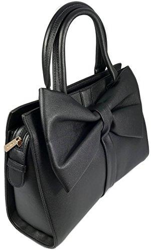 Damen Tasche Schwarz Tom & Eva mit Schleife Handtasche