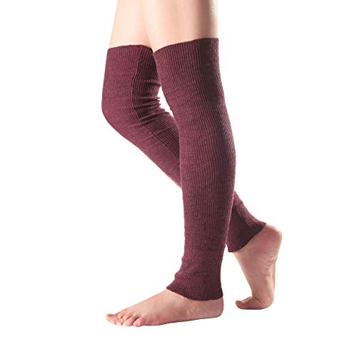 BAOBAO Long Footless Socks Soft Cashmere Knee High Leg Warmers for Sports Yoga (red)