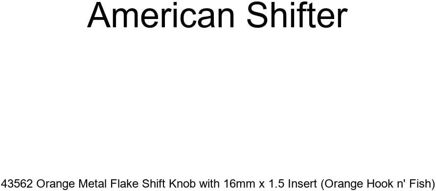 American Shifter 43562 Orange Metal Flake Shift Knob with 16mm x 1.5 Insert Orange Hook n Fish
