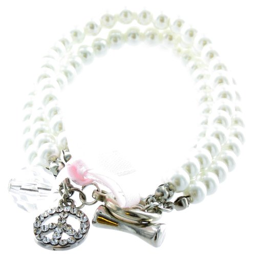 ilovefj Clear Crystal on Silver Plated Pearl Bracelet with Peace Charm ()