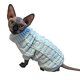 LUCKSTAR Cable Knit Turtleneck Sweater – Cats Sweater Pullover Knitted Clothes Pet Sweater for Small Dogs & Cats Kitten Kitty Chihuahua Teddy Knitwear Cold Weather Outfit