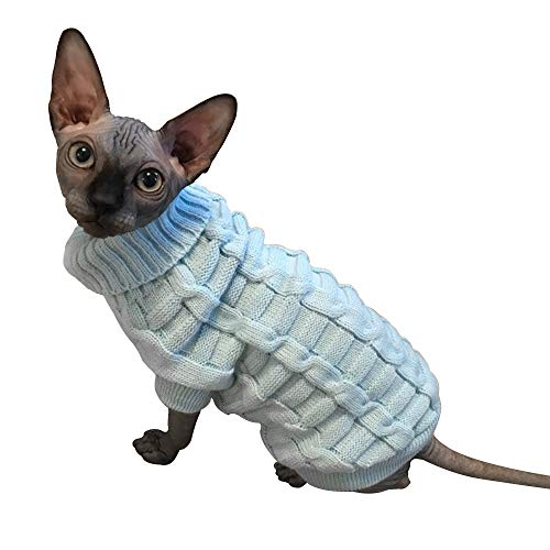 LUCKSTAR Cable Knit Turtleneck Sweater – Cats Sweater Pullover Knitted Clothes Pet Sweater for Small Dogs & Cats Kitten…