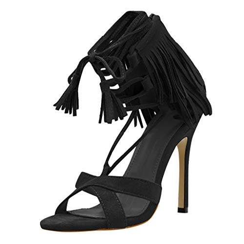 Midress Womens Fashion Sexy Ankle Strap Lace-Up Open-Toe Heel Tassel Party High Heel Shoes Sandals Stiletto Heeled Strappy Sandals