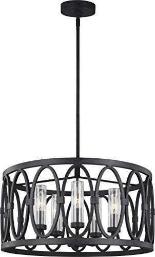 Feiss OLF3222/5DWZ Transitional Five Light Chandelier from Patrice Collection in Bronze/Dark Finish ()