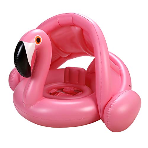 iefoah Baby Pool Float with Canopy,Flamingo Inflatable Swimming Ring,Infant Pool Floaties Swimming Pool Sunshade Toys for Baby Girls Boys Toddlers Pink