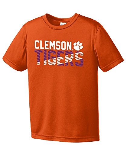 NCAA Clemson Tigers Youth Boys Diagonal Short sleeve Polyester Competitor T-Shirt, Youth Small,Orange (University Clemson Basketball)