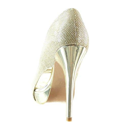 brillant Or 5 Talon femme Chaussure CM soirée Mode toe Angkorly stiletto 12 Escarpin peep haut aiguille x8UBOcwZq