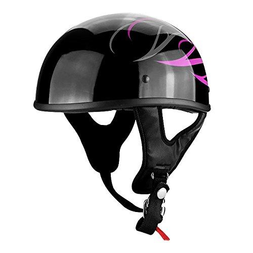 Gloss Black Motorcycle Skid Lid Helmet Pink Tribal Flames DOT (Tribal Flames)