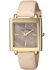 Anne Klein Womens AK/2914RQLP Gold-Tone and Light Pink Leather Strap Watch