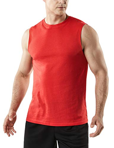 TSLA Men's (Pack of 1 or 3) Workout Muscle Tank Sleeveless Gym Training Active Workout Cool Dry Top Shirt, Dyna Cotton Tank Top(mtn52) - Red, X-Large (Shirt Cotton Men Spandex T)