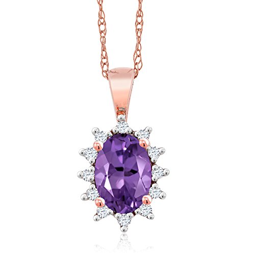Amethyst Diamond Pendant Watch (18K Rose Gold 0.43 Ct Oval Purple Amethyst White Diamond Pendant)