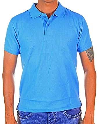 TUW Blue Cotton Shirt Neck Polo For Unisex