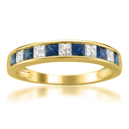 14k Yellow Gold Princess-cut Diamond and Blue Sapphire Wedding Band Ring (5/8 cttw, H-I, I1-I2), Size 8.5