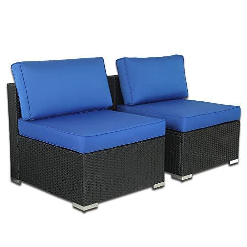 Outime Patio Furniture PE Black Rattan Sofa Set 2pcs Middle Sofa Garden Wicker Sectional Sofas Conversation Sets-Easy Assembled Royal Blue Cushion