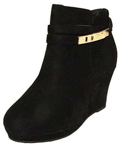 Platform Faux Black Booties Wedge Heel Women's BellaMarie Ankle Suede Respect 10 wq1MaXt