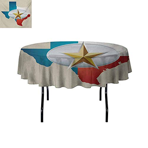 Gloria Johnson Texas+Star+Iron-Free+Anti-fouling+Holiday+Round+Tablecloth+Cowboy+Belt+Buckle+Star+Design+with+Texas+Map+Southwestern+Parts+of+America+Table+Decoration+D67+InchMulticolor+