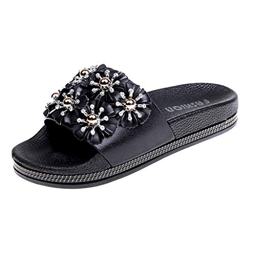 - YKARITIANNA Women's Summer Fashion Casual Flower Non-Slip Beach Slippers Sandals Shoes Black