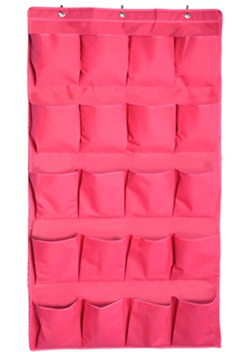 Shoe Organizer Over the Door Hanging Shoe Organizers and Closet Storage with 20 Large Size 600D Pockets Oxford Fabric from NKTM, Pink for Girls