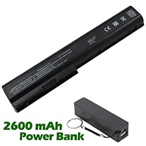Battpit Bateria de repuesto para portátiles HP Pavilion dv7-1028tx (4400mah) con 2600mAh Banco de energía / batería externa (negro) para Smartphone