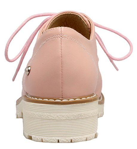 Toe Shoes Pink Lace Up Heels Low PU Closed Womens Round AmoonyFashion Solid Pumps IPSxp7
