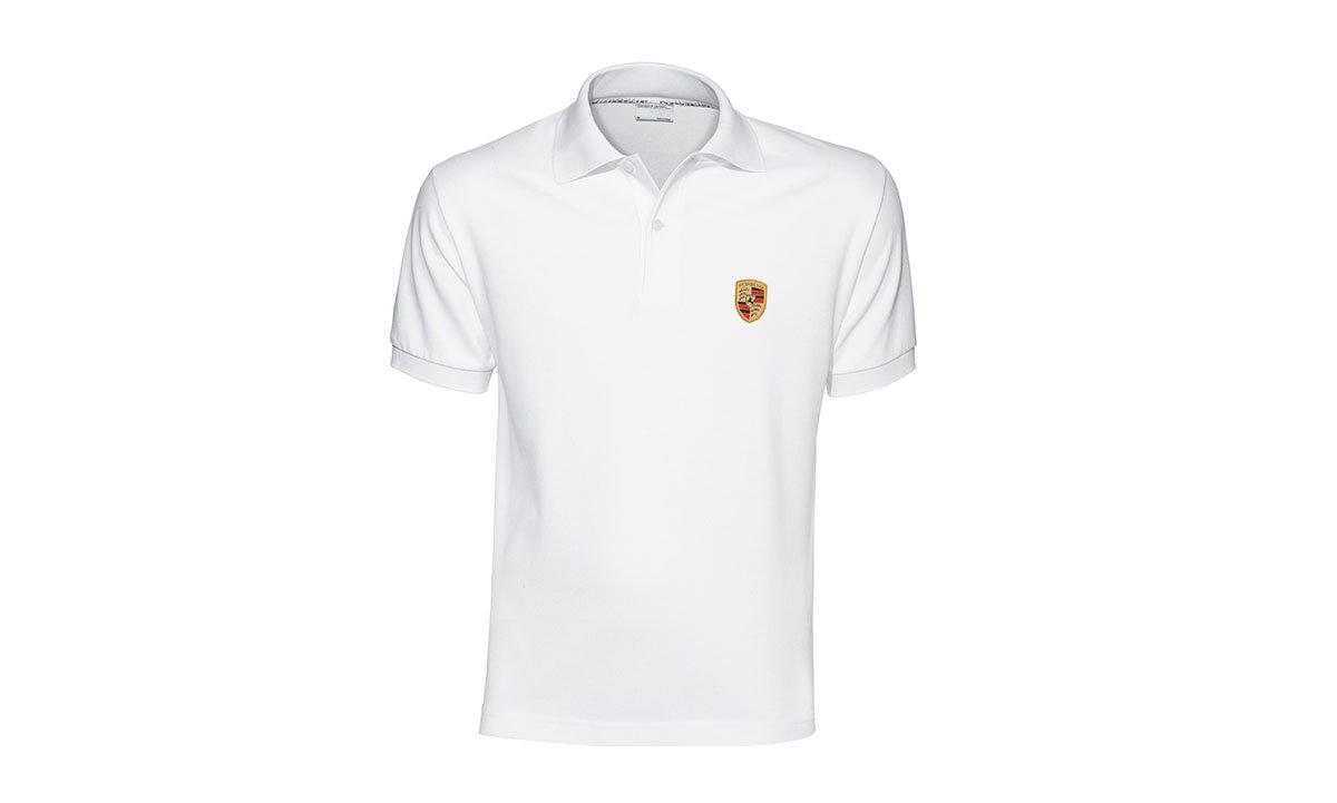Genuine Porsche Crest Men's Polo Shirt - White -European Size Small