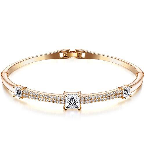 """Menton Ezil """"Romance in Venice Swarovski Crystal 14K Gold Plated Bangle Bracelet"""