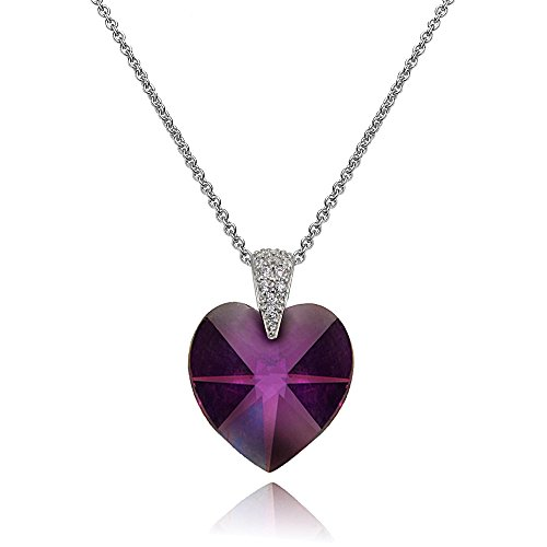Sterling Silver Purple Heart Necklace Created with Swarovski Crystals ()