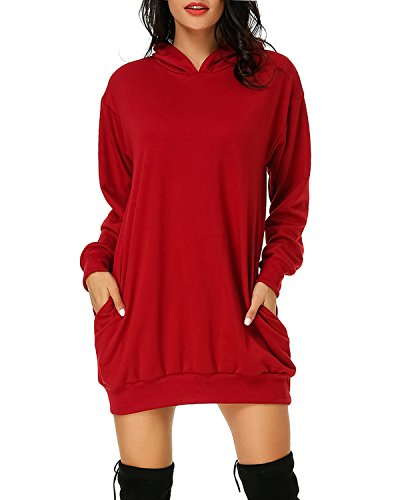 Auxo Women's Long Sleeve Hooded Pockets Pullover Hoodie Dress Tunic Sweatshirt Wine Red -