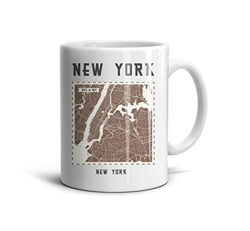 BWERPNOI New York City Map Art Cup Cute TeaMugs Engagements FamilyMembers Grandma Mugs White Ceramic 11 oz