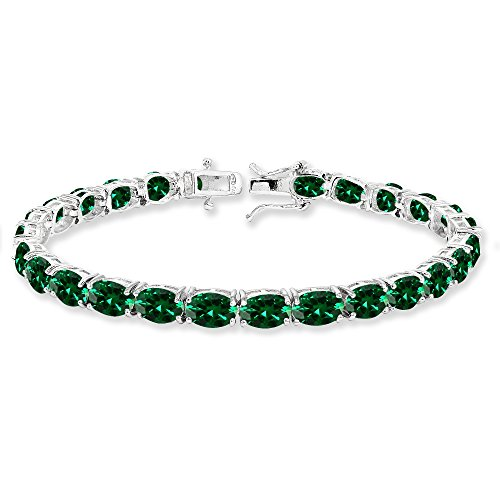 Sterling Silver 7x5mm Simulated Emerald Oval-cut Classic Tennis Bracelet