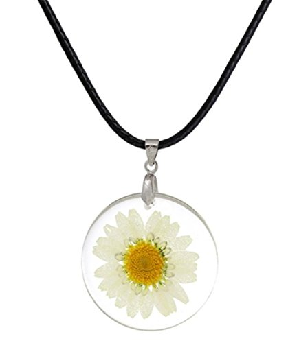 stylesilove Womens Pressed Natural Daisy Flower Resin Pendant Necklace (White with Leather Rope) (White with Leather Rope) (White with Leather Rope)