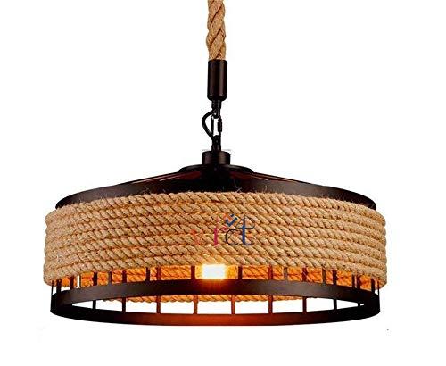 VRCT Hanging Lamp Vintage Hemp Rope Pendant Lamp Ceiling Lamp, Retro Industrial Iron Vintage Loft Ceiling Light…