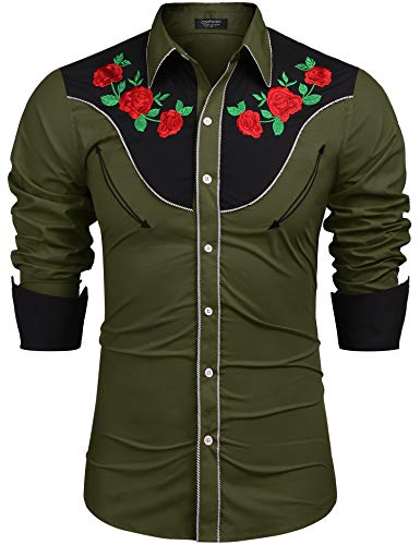 COOFANDY Men's Embroidered Rose Design Western Shirt Long Sleeve Button Down Shirt(Army Green,S)